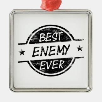 El mejor negro del enemigo nunca adorno navideño cuadrado de metal