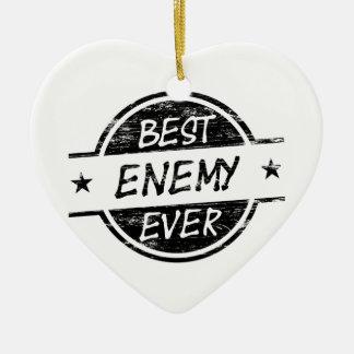 El mejor negro del enemigo nunca adorno navideño de cerámica en forma de corazón