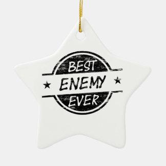 El mejor negro del enemigo nunca adorno navideño de cerámica en forma de estrella