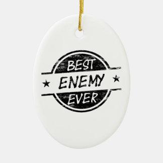 El mejor negro del enemigo nunca adorno navideño ovalado de cerámica