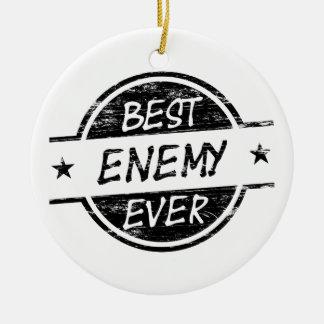 El mejor negro del enemigo nunca adorno navideño redondo de cerámica