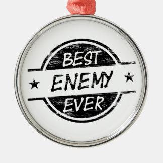 El mejor negro del enemigo nunca adorno navideño redondo de metal