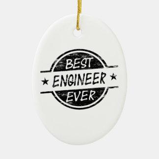 El mejor negro del ingeniero nunca adorno navideño ovalado de cerámica