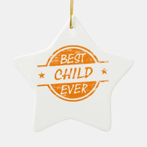 El mejor niño siempre anaranjado adorno navideño de cerámica en forma de estrella