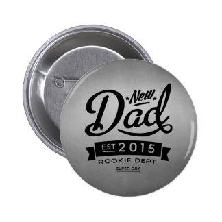 El mejor nuevo papá 2015 pin redondo de 2 pulgadas