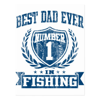 El mejor número uno del papá nunca en la pesca tarjeta postal