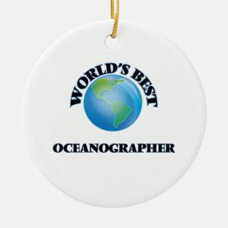 El mejor oceanógrafo del mundo adorno navideño redondo de cerámica