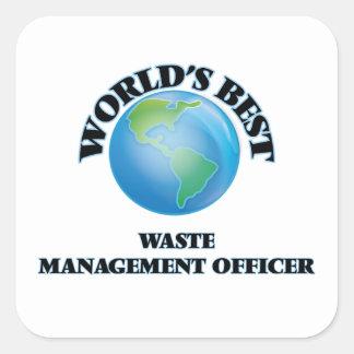 El mejor oficial de la gestión de desechos del pegatina cuadrada