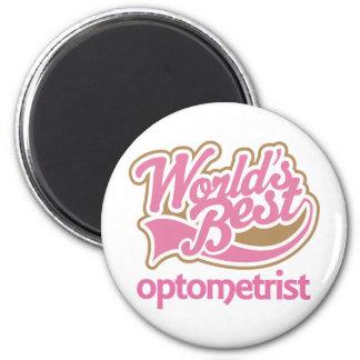 El mejor optometrista de los mundos rosados lindos imán redondo 5 cm