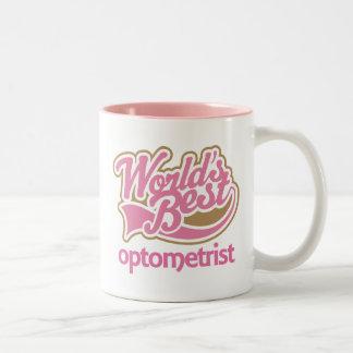 El mejor optometrista de los mundos rosados lindos taza de café de dos colores