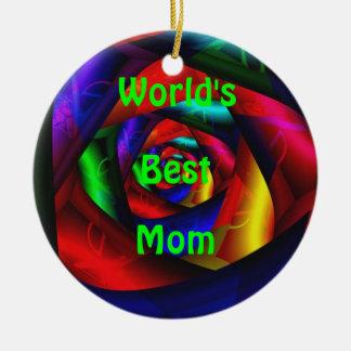 El mejor ornamento de la mamá del mundo adorno navideño redondo de cerámica