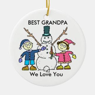 El mejor ornamento del abuelo adorno navideño redondo de cerámica