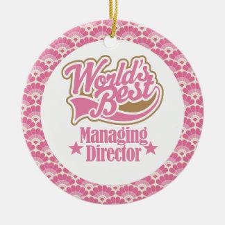 El mejor ornamento del director de gerente del adorno navideño redondo de cerámica