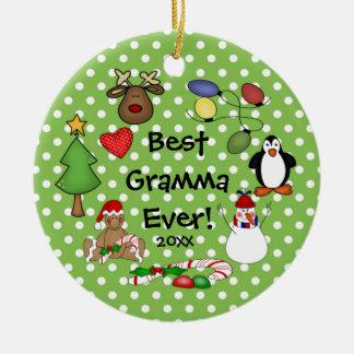 El mejor ornamento del navidad de Gramma nunca Adorno Navideño Redondo De Cerámica