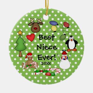 El mejor ornamento del navidad de la sobrina nunca adorno navideño redondo de cerámica