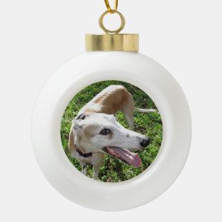 El mejor ornamento del navidad del mascota adorno de cerámica en forma de bola