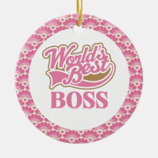 El mejor ornamento del regalo de Boss del mundo Adorno Navideño Redondo De Cerámica
