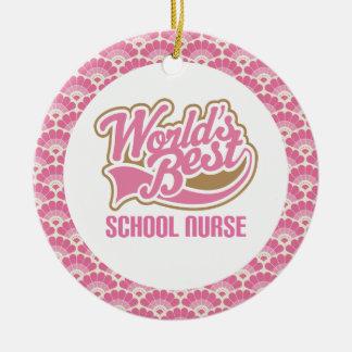 El mejor ornamento del regalo de la enfermera de adorno navideño redondo de cerámica
