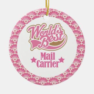 El mejor ornamento del regalo del cartero del adornos de navidad