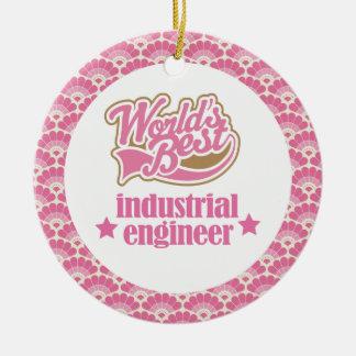 El mejor ornamento del regalo del ingeniero adorno navideño redondo de cerámica