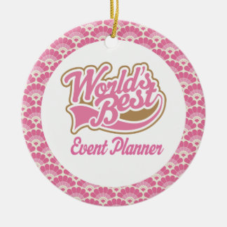 El mejor ornamento del regalo del planificador de adorno navideño redondo de cerámica
