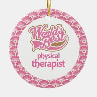 El mejor ornamento del regalo del terapeuta físico adorno navideño redondo de cerámica