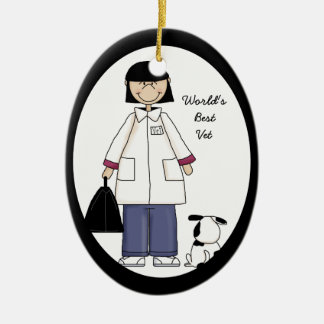 El mejor ornamento del veterinario de la mujer adorno navideño ovalado de cerámica