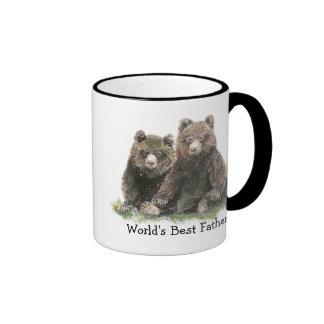 El mejor padre del mundo, osos lindos de la acuare tazas de café