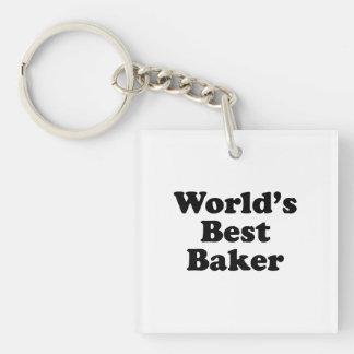 El mejor panadero del mundo llavero cuadrado acrílico a una cara