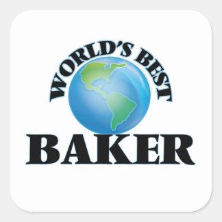 El mejor panadero del mundo pegatina cuadrada