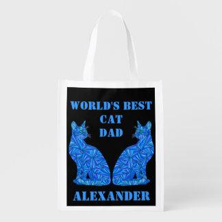 El mejor papá del gato del mundo personalizado bolsa para la compra