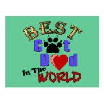 El mejor papá del gato en los regalos del mundo tarjetas postales