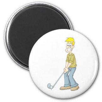 El mejor papá del golfista que pone un dibujo anim imán redondo 5 cm