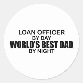 El mejor papá del mundo - oficial de préstamo pegatina redonda