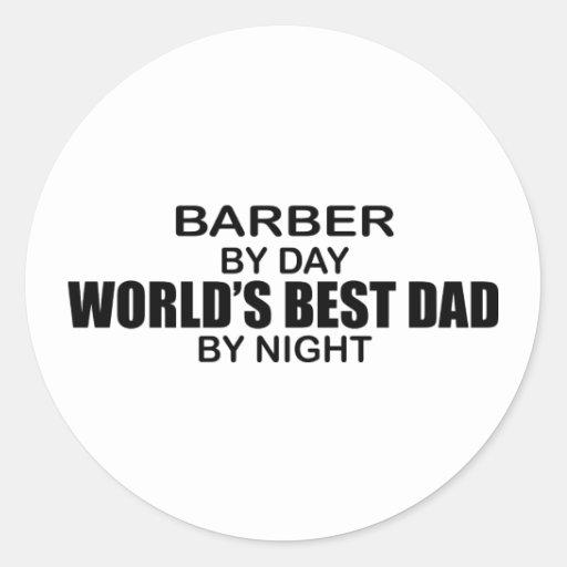 El mejor papá del mundo - peluquero pegatinas redondas