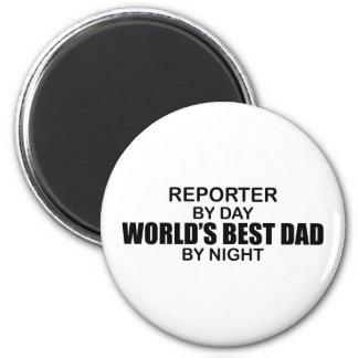 El mejor papá del mundo - reportero imán redondo 5 cm