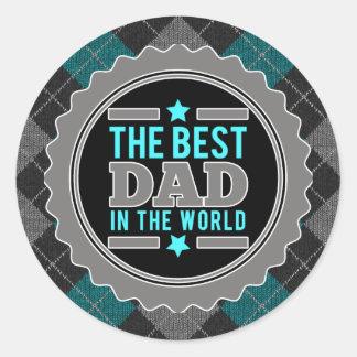 El mejor papá en el mundo Argyle modelado Pegatina Redonda