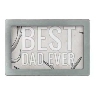 El mejor papá nunca con las astas hebilla de cinturón rectangular