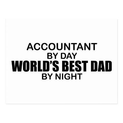 El mejor papá por noche - contable del mundo tarjeta postal