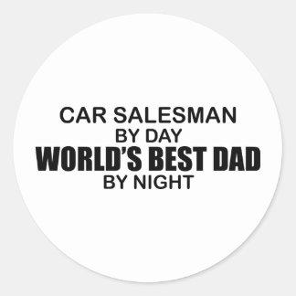 El mejor papá por noche - vendedor de coches del pegatina redonda