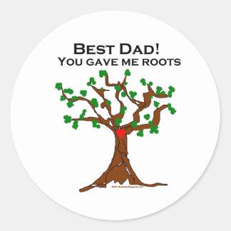 El mejor papá usted me dio raíces pegatina redonda