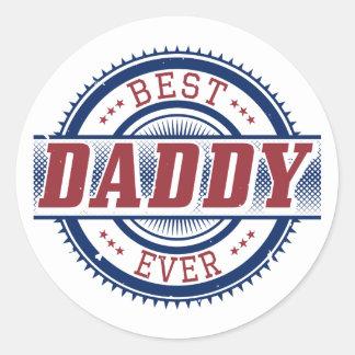 El mejor pegatina del papá nunca pegatina redonda