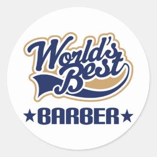 El mejor peluquero de los mundos etiquetas redondas