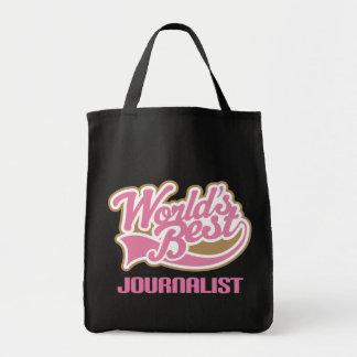 El mejor periodista de los mundos rosados lindos bolsa tela para la compra