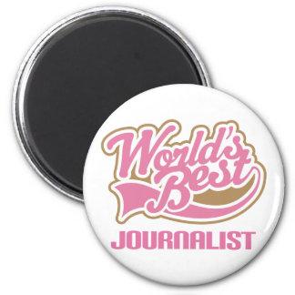 El mejor periodista de los mundos rosados lindos imán redondo 5 cm