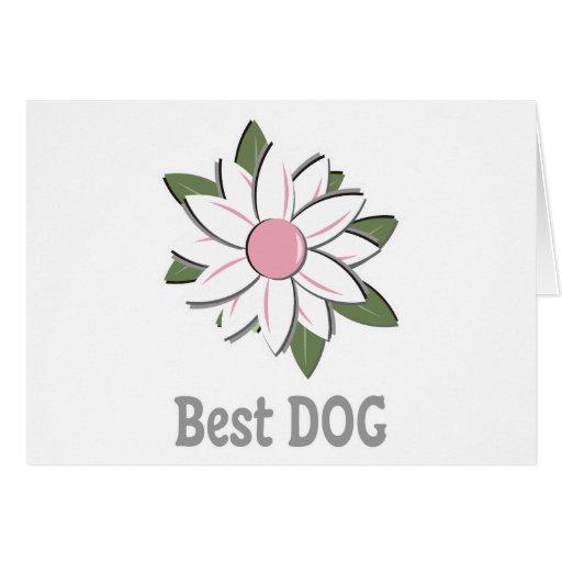 El mejor perro del novio rosado de la flor tarjeta de felicitación