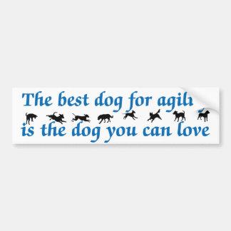 El mejor perro para la agilidad pegatina de parachoque
