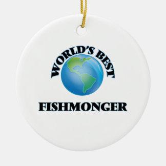 El mejor pescadero del mundo adorno redondo de cerámica