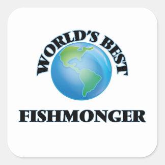 El mejor pescadero del mundo pegatina cuadrada