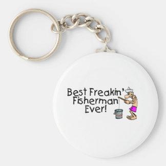 El mejor pescador de Freakin nunca Llavero Redondo Tipo Pin